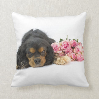 Cavalier King Charles Spaniel With Pink Roses Throw Pillow