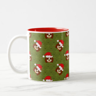 Cavalier King Charles Spaniel with Santa hat Two-Tone Coffee Mug