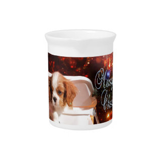 Cavalier puppy Christmas Card Pitcher