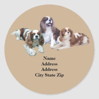 Cavalier Threesome Address Label Round Sticker