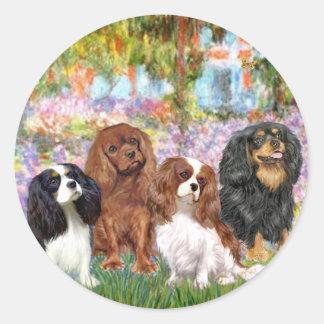 Cavaliers (4) - in Monet's Garden Classic Round Sticker