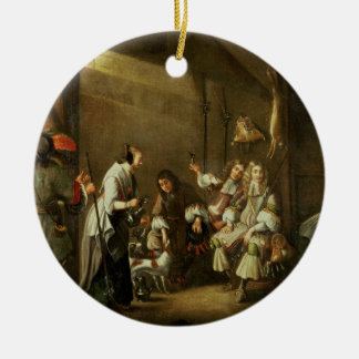 Cavaliers and Companions Carousing in a Barn Round Ceramic Decoration