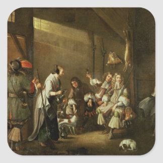 Cavaliers and Companions Carousing in a Barn Square Sticker