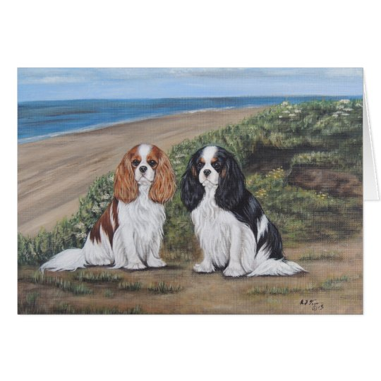 Cavaliers at the beach greeting card