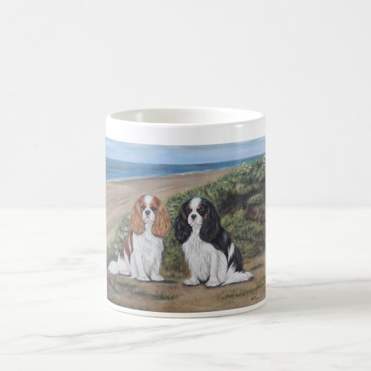 """Cavaliers at the beach"" mug"