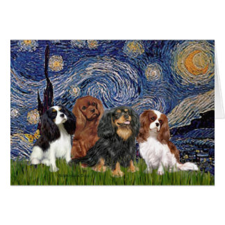 Cavaliers (four) - Starry Night Greeting Card