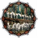 Cavalry Troop on Redwood Tree Vintage Ornament Photo Sculpture Decoration