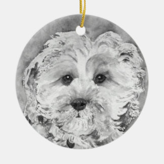 Cavapoo  puppy. christmas ornament