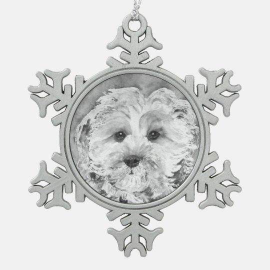 "Cavapoo puppy "" Ollie"". Snowflake Pewter Christmas"