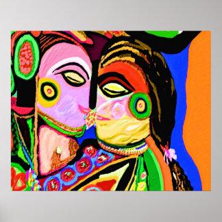 Cave Art Khajuraho Style - Intimate Kiss Poster