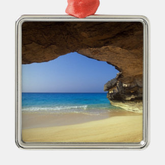 Cave at French Bay, San Salvador Island, Silver-Colored Square Decoration