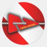 Cave Diver (Line Marker) Round Sticker