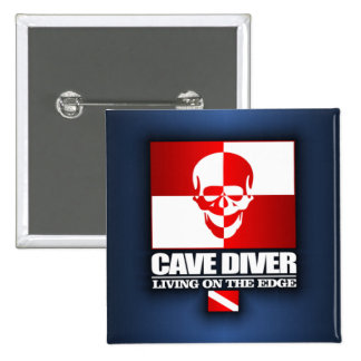 Cave Diver -Living On The Edge 15 Cm Square Badge