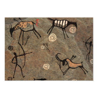 Cave Drawing Pattern 13 Cm X 18 Cm Invitation Card