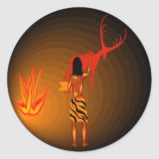 Cave Painter Classic Round Sticker