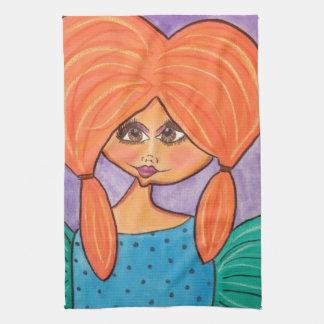 Cave Woman Kitchen Towel - Orange