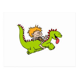Caveboy & his dragon pet postcard