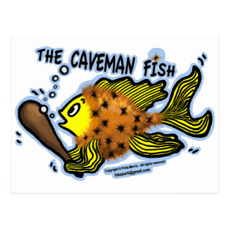 Caveman Fish Postcard