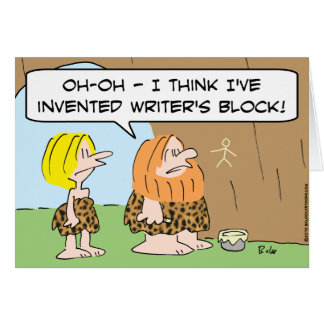 caveman invented writers block card