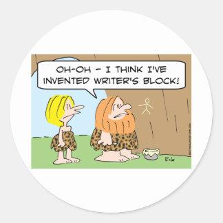 caveman invented writers block round sticker
