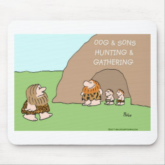 caveman oog and sons hunting gathering mouse pads