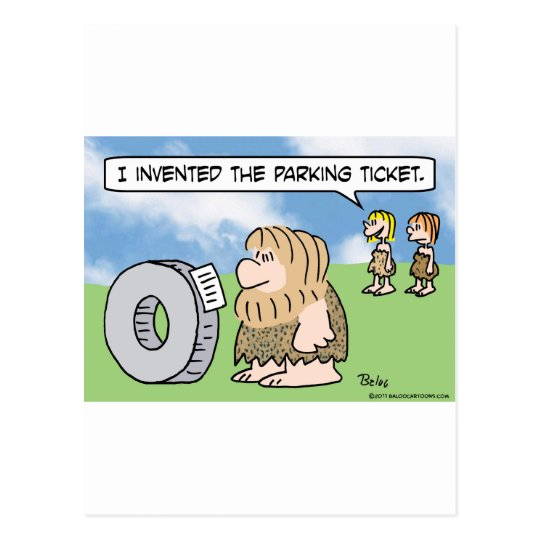 caveman wheel invented parking ticket woman postcard