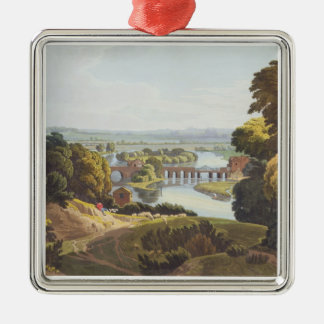 Caversham Bridge, near Reading, engraved by Robert Silver-Colored Square Decoration
