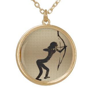 Cavewoman Archer Round Pendant Necklace