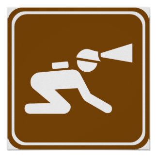 Caving Highway Sign Poster