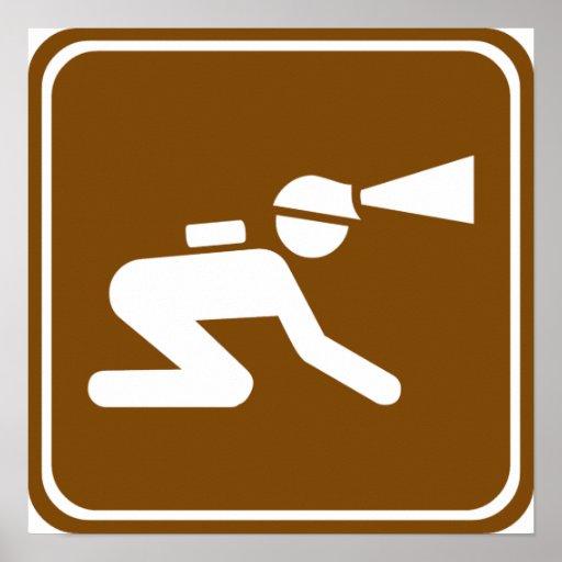 Caving Highway Sign Print