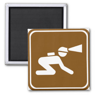 Caving Highway Sign Square Magnet