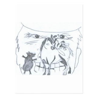 cawboy angry takes care of badly of its animal in  post cards