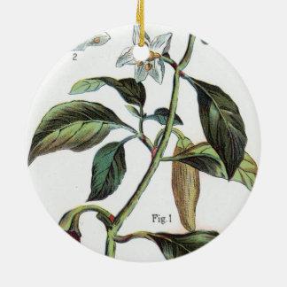 cayenne pepper Flower Round Ceramic Decoration