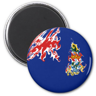 Cayman Islands Gnarly Flag 6 Cm Round Magnet