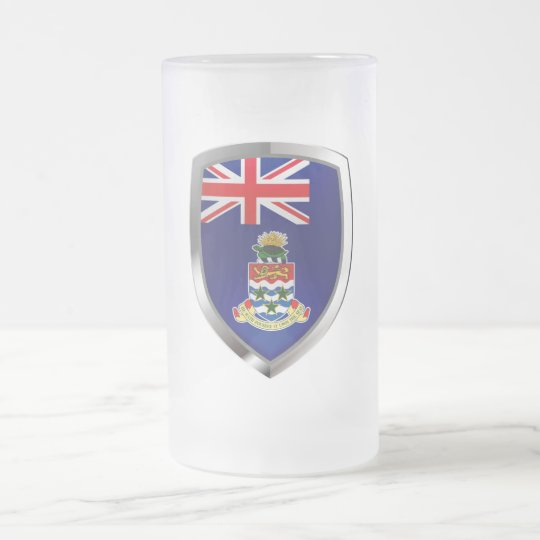 Cayman Islands Mettalic Emblem Frosted Glass Beer Mug