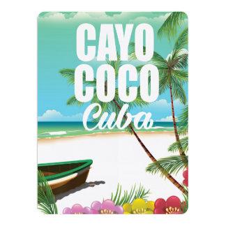 Cayo Coco Cuban beach vacation poster 17 Cm X 22 Cm Invitation Card