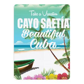 Cayo Saetía Cuba beach vacation poster 17 Cm X 22 Cm Invitation Card
