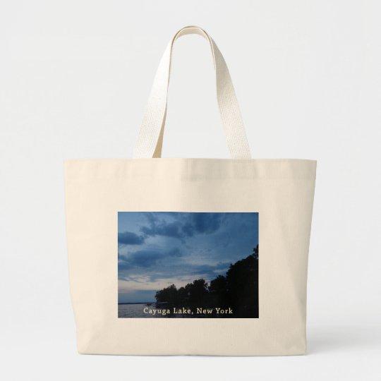 Cayuga Lake Blue Sunset Large Tote Bag