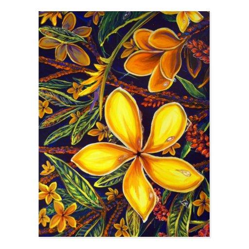 CBjork Yellow Island Plumeria Art Postcards