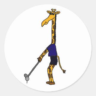 CC- Giraffe Playing Golf Design Round Sticker