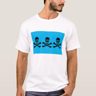 CC I Pirate Flag (Black & Deep Sky Blue) T-Shirt