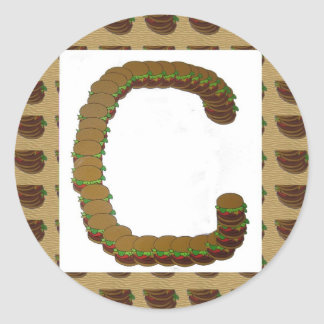 ccc ALPHA Alphabet design Identity ID Mark Round Sticker