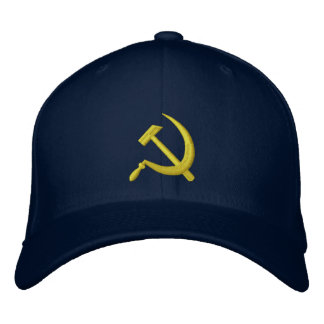 CCCP Soviet Sickle & Hammer Hat Navy Gold Embroidered Hats