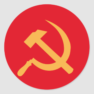 cccp ussr hammer and sickle classic round sticker