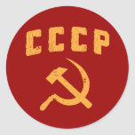 cccp vintage russian ussr hammer and sickle round stickers