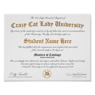 CCLU Diploma - Gold Seal - Cat Portrait Poster