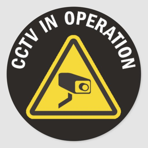 CCTV IN OPERATION CLASSIC ROUND STICKER