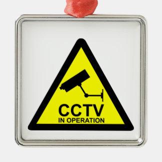 CCTV Notice Silver-Colored Square Decoration