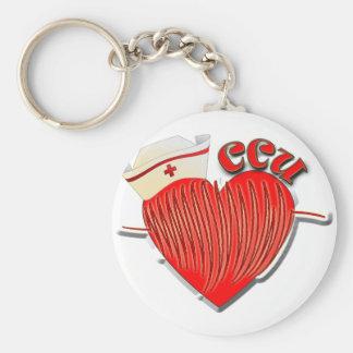 CCU NURSE CARDIAC CARE UNIT BASIC ROUND BUTTON KEY RING