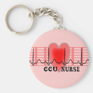 CCU Nurse Gift Ekg paper and Heart Design Basic Round Button Key Ring